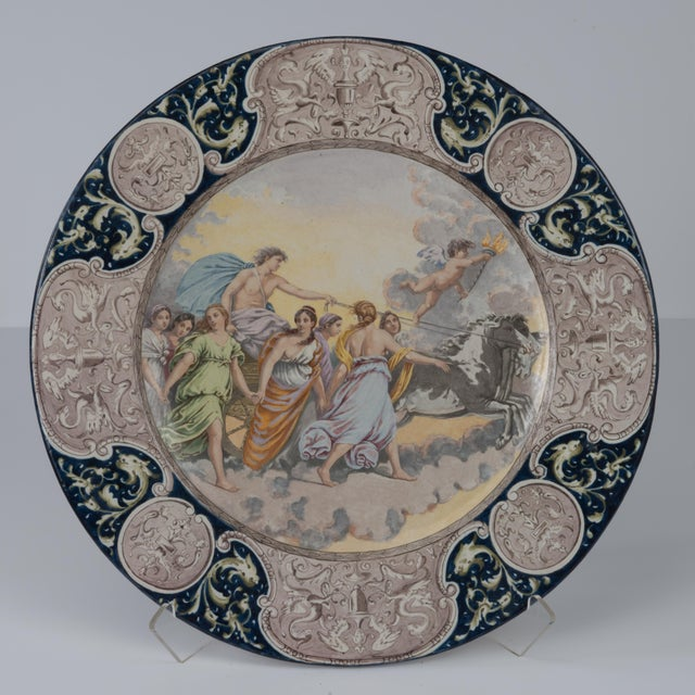 Large Italian Faience Allegorical Neoclassical Charger Icarus Chariot For Sale - Image 13 of 13