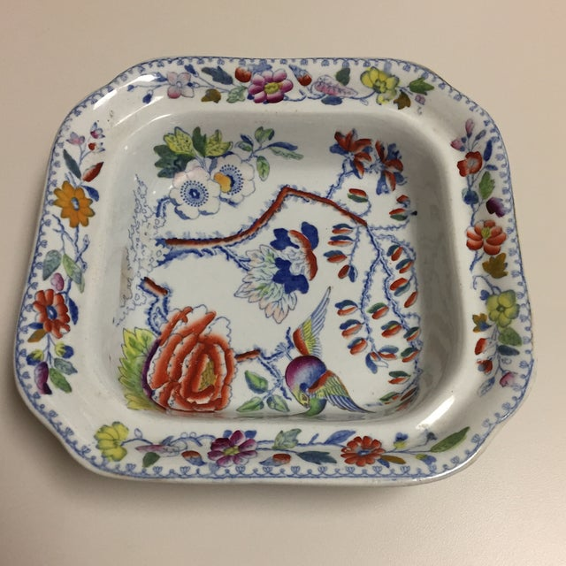 Mid 20th Century Blue and Red Floral Masons Square Covered Server For Sale - Image 5 of 9