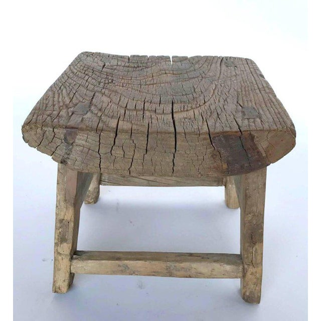 Rustic 19th century elm wood stool or table, sturdy. Natural patina.