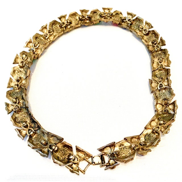 20th Century Etruscan Style Gold Molded Glass Choker Necklace & Bracelet - a Pair For Sale - Image 12 of 13