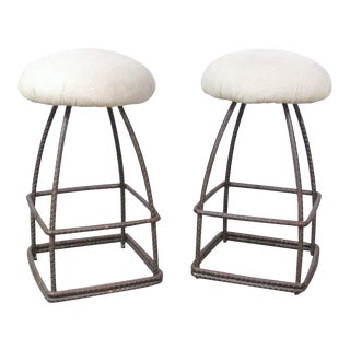 Custom Made Wrought Iron Swivel Stools - a Pair For Sale