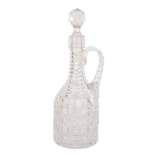Antique American Brilliant Cut Glass Decanter with Basketweave Detailing For Sale