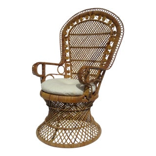 C1970s Vintage Bohemian Eclectic Boho Chic Rattan Raw Wicker Peacock Chair For Sale