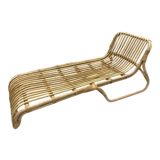 Mid Century Bamboo Rattan Chaise Lounge Chair For Sale