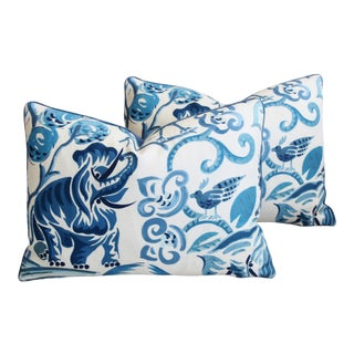 "P. Kaufmann Blue & White Animal Feather/Down Pillows 22"" X 16"" - Pair For Sale"