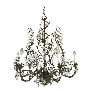 Wrought Iron and Crystal Vine and Branch Chandelier For Sale