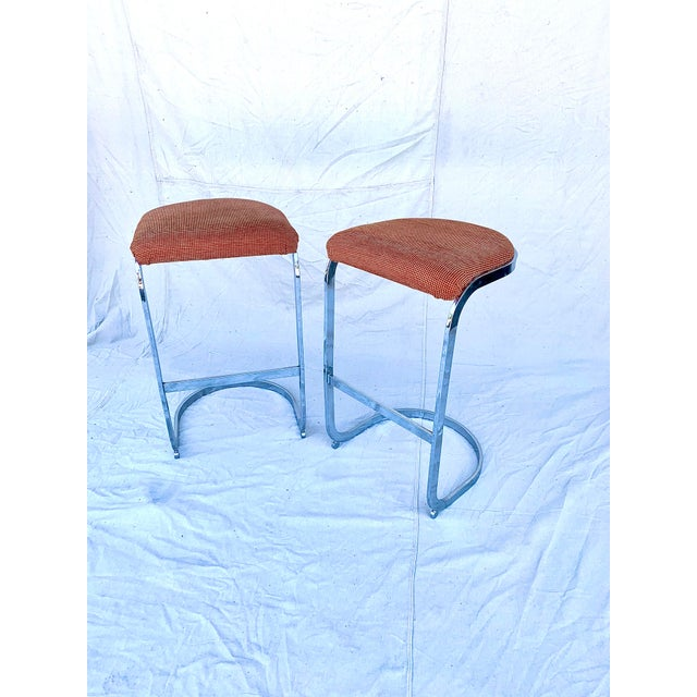 Mid-Century Modern Cantilevered Baughman-Style Bar Stools - a Pair For Sale - Image 3 of 8