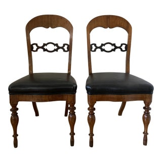 Swedish Biedermeier Leather and Wood Side Chairs - a Pair For Sale