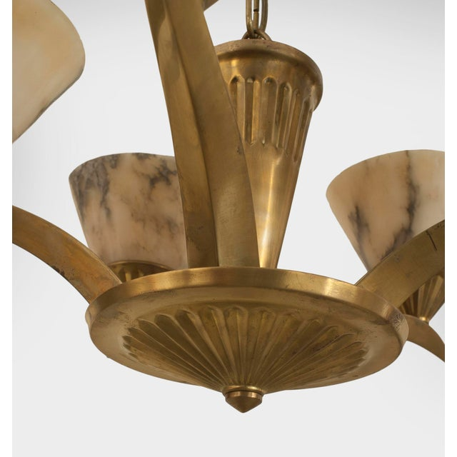 Art Deco French Art Deco Brass (Circa 1925) Chandelier For Sale - Image 3 of 4
