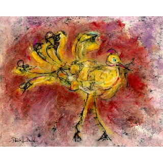 """Farmhouse Cottage Chic Rooster Chicken Print - """"Yellow Bird, #1"""" For Sale"""