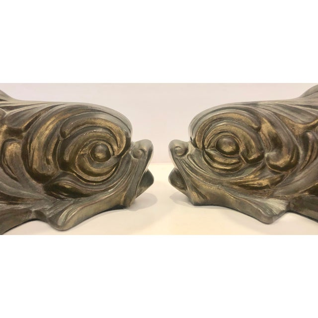 Metal Brass and Faux Horn Fishes by Chapman/2 For Sale - Image 7 of 10