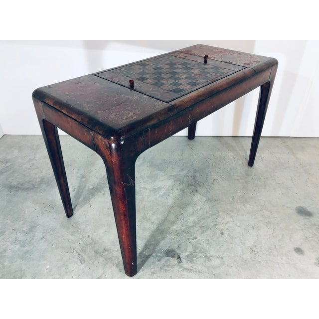 Unique Maitland-Smith LTD distressed leather game table with both chess/checkers and Backgammon reversible board. Leather...