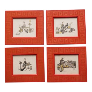 1950s Chinoiserie Hand Colored Prints - Set of 4 For Sale