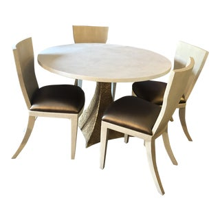 Made Goods Noor Off White Faux Shagreen Table and Blair Off White Dining Chairs Newly Upholstered Seats - 5 Piece Set For Sale