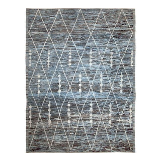 Afghan Moroccan Style Rug With White Geometric Details on Blue & Brown Field For Sale