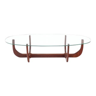 Midcentury Oval Glass Top Sculptured Walnut Base Coffee Table For Sale