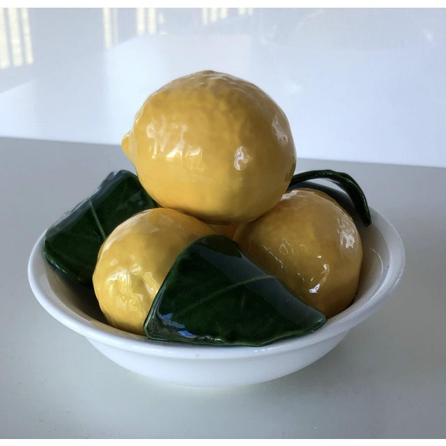 Italian Vintage Trompe l'Oeil Bertinazzo Italy Ceramic Bowl of Lemons With Leaves For Sale - Image 3 of 12