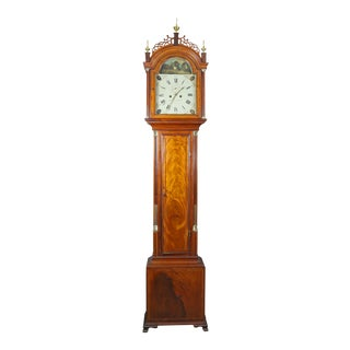 Federal Mahogany Tall Case Clock by Aaron Willard For Sale