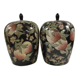 Black Peach Ginger Jars - A Pair