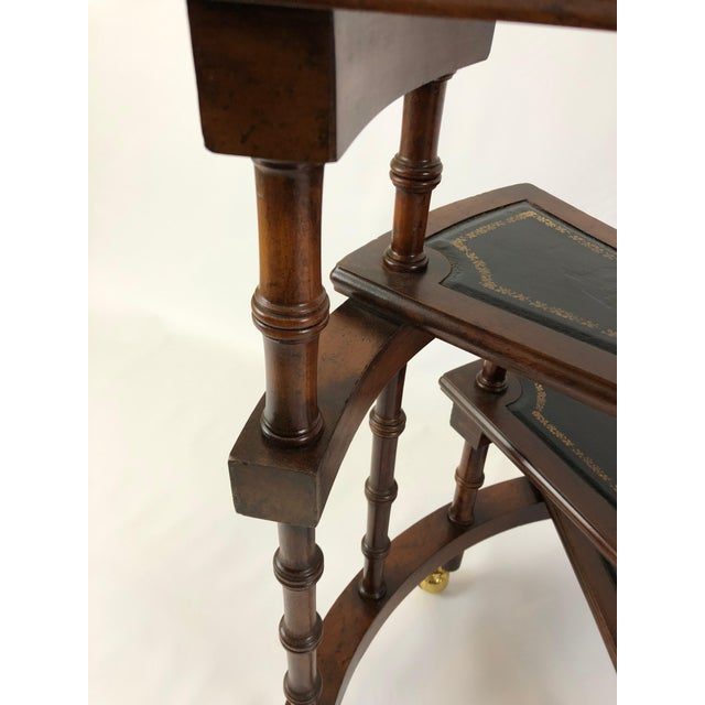 Animal Skin 1980s Vintage English Style Decorative Mahogany & Embossed Leather Library Stairs For Sale - Image 7 of 12