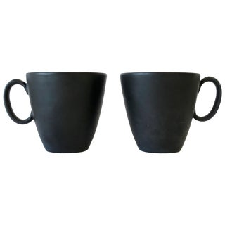 Designer Matte Black and White Espresso Coffee or Tea Demitasse Cup by Ray Loewy For Sale