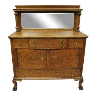 Antique Victorian Quartersawn Golden Oak Paw Foot Sideboard Mirrored Backsplash For Sale