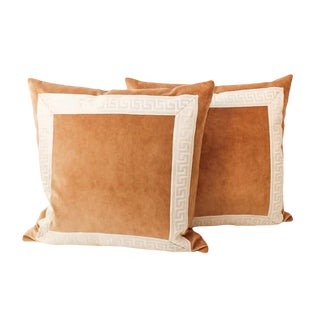 Caramel Velvet Greek Key Pillows, a Pair For Sale