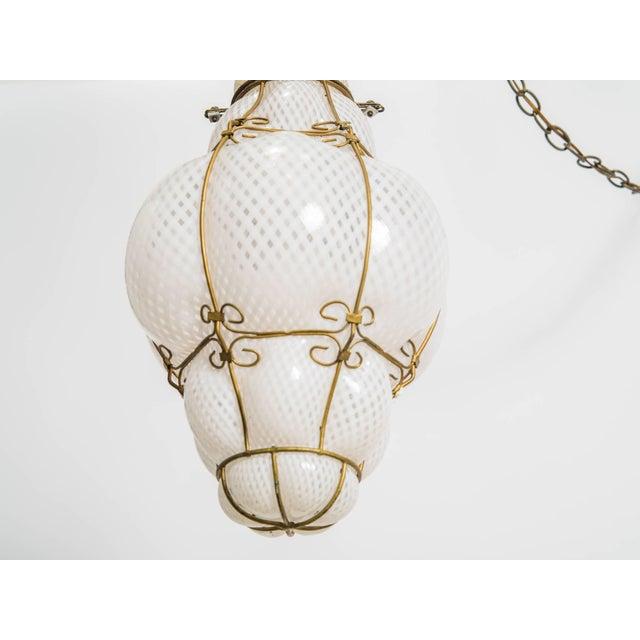 Metal Italian Handblown Murano Lantern For Sale - Image 7 of 9