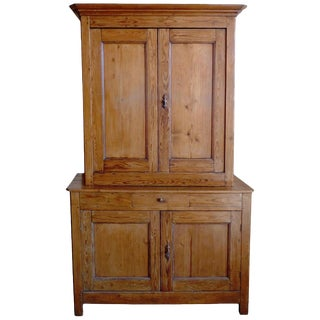 19th Century French XIX Stained Pine Deux Corp Linen Cupboard For Sale