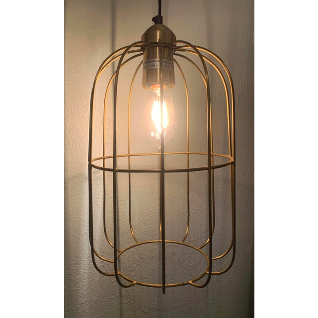 Contemporary Brass Caged Dome Pendant Lights by Kalalou For Sale - Image 3 of 13