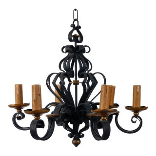 Six Light Heavy Iron Chandelier For Sale