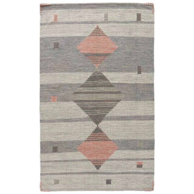 Jaipur Living Meyer Handmade Geometric Gray/ Pink Area Rug - 8′ × 11′ For Sale - Image 4 of 4