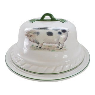 """Heron Cross Pottery England """"Old Spotted Pig"""" Round Covered Meat / Cheese Platter For Sale"""