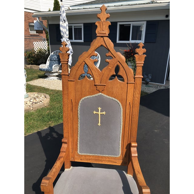 Gothic Vintage Gothic Revival Oak High Back Velvet Arm Chair For Sale - Image 3 of 12