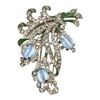 Trifari Blue Moonglow Glass Pin Fur Clip Brooch Patented 1940 For Sale