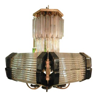 Sciolari Style Mid-Century Modern Glass Chandelier For Sale