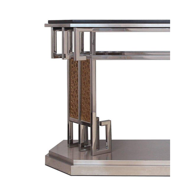 Lorin Marsh 1980s Art Deco Lorin Marsh Mixed Metal and Mixed Stone Console Table For Sale - Image 4 of 6