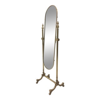 Rococo Brass Cheval Full Length Mirror For Sale