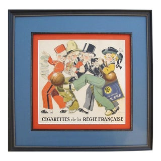 1930s French Cigarettes Poster, Regie Francaise Children