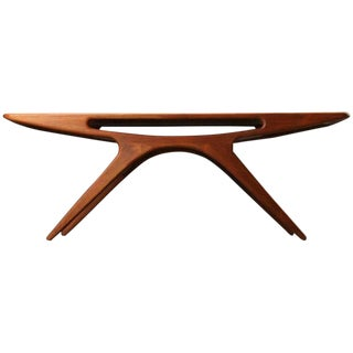 "1960s Danish Modern Johannes Andersen ""The Smile"" Teak Coffee Table"