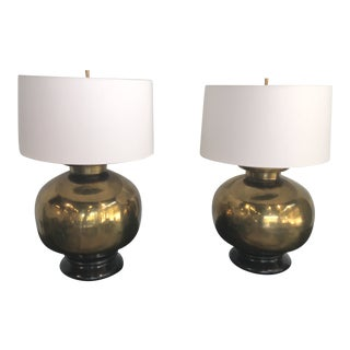 1970s Vintage Large Scale Brass Lamps - a Pair