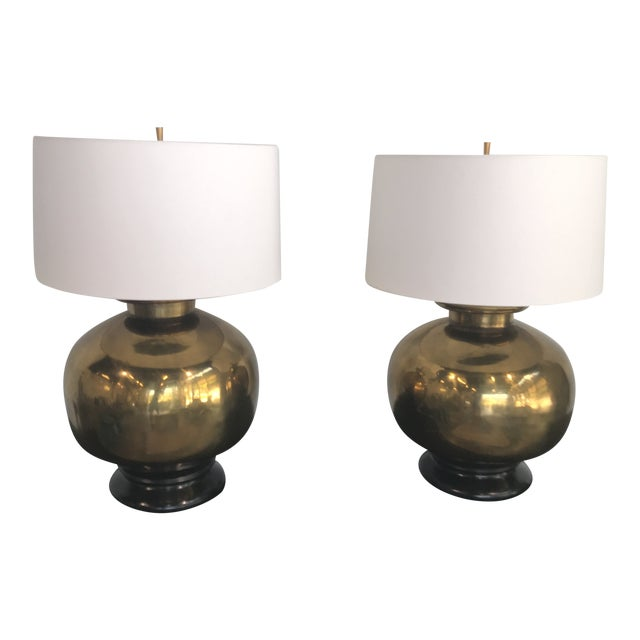 1970s Vintage Large Scale Brass Lamps - a Pair For Sale