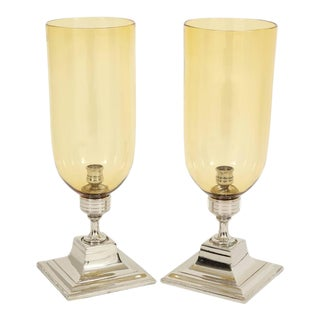 Pair of Amber Glass Hurricane Candleholders
