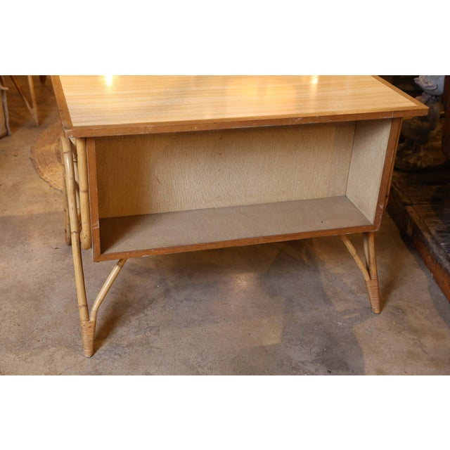 Mid 20th Century Bamboo Desk and Chair For Sale - Image 5 of 11