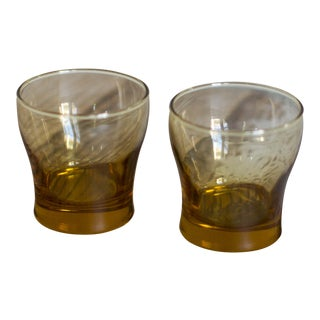 Vintage Libby Amber Tumbler Glasses - A Pair For Sale