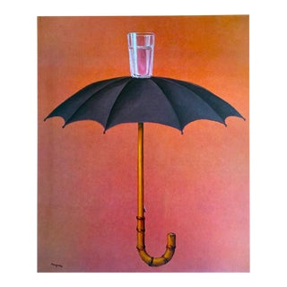 "Rene Magritte Vintage 1974 Surrealist Lithograph Print "" Hegel's Holiday Les Vacanes "" 1958 For Sale"
