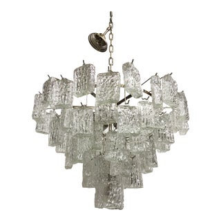 "Clear ""Brick""murano Glass With Kromo Frame Sputnik Chandelier For Sale"