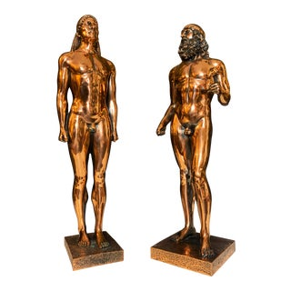 Grand Tour Style Copper Finish Hellenistic Statuettes - a Pair For Sale