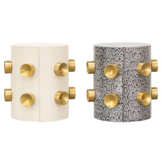 Leather & Gold Studs Leather Side Tables - a Pair For Sale