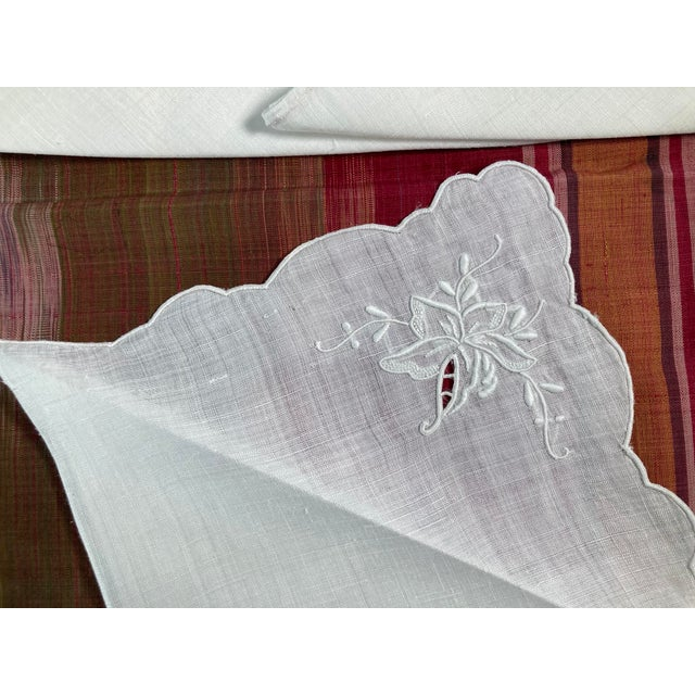 Traditional Vintage White Linen Embroidered Napkins- Set of 8 For Sale - Image 3 of 4